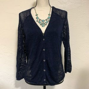 Lucky Brand Navy Blue Button Up Knitted Cardigan